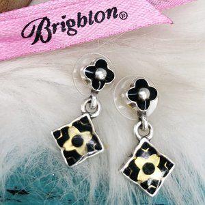 Brighton Two Tone Black Resin Square Drop Earrings
